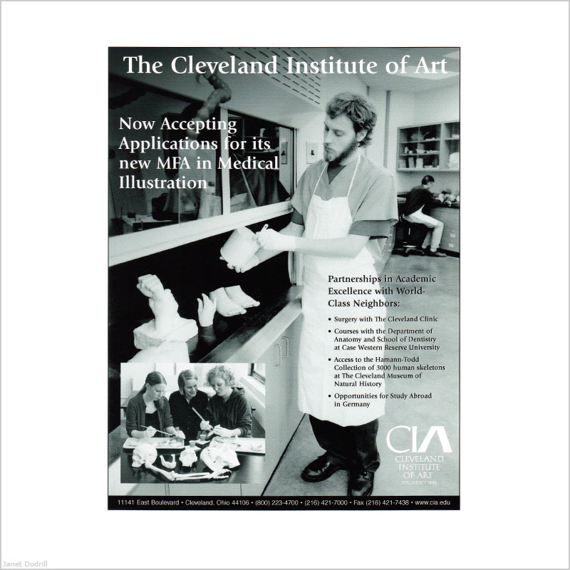 Janet Dodrill – The Cleveland Institute of Art – Ad for Medical Illustrator's Trade Newsletter